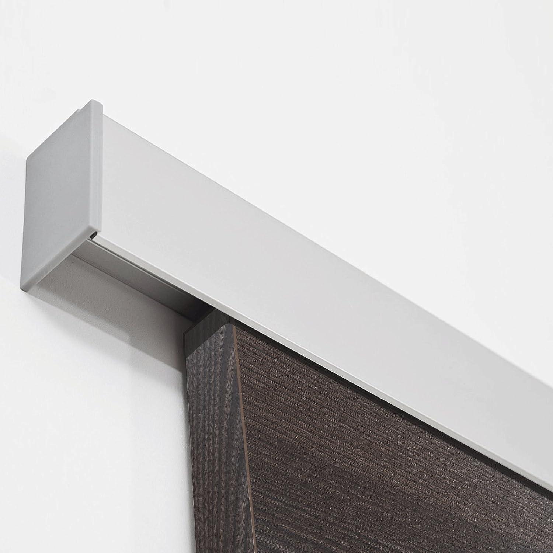 inova Holz-Schiebet/ür 880 x 2035 mm Wenge Alu Komplettset mit Lauf-Schiene und Griffmuschel