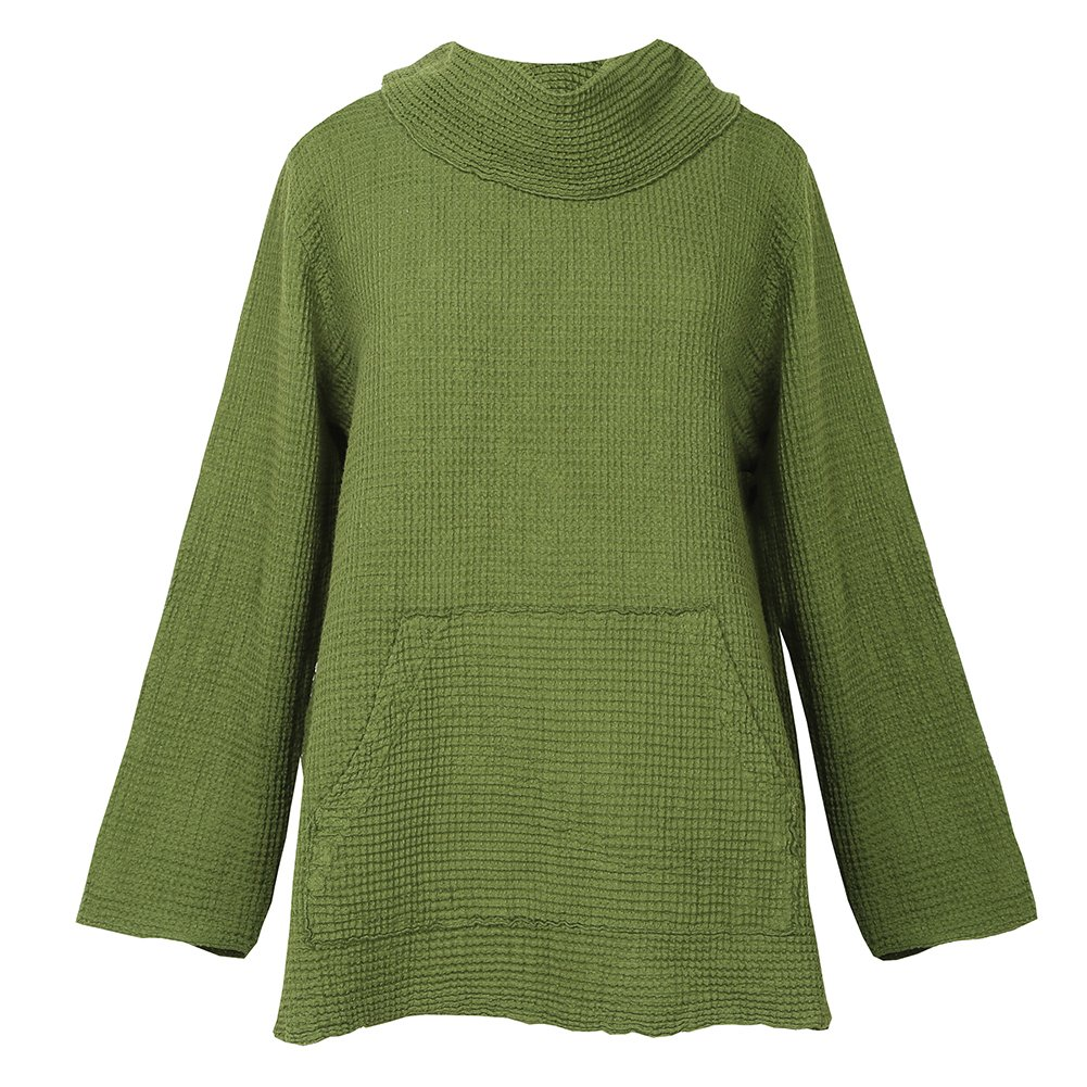 Women's Cowl Neck Tunic Sweater - Waffle Weave Top at Amazon ...