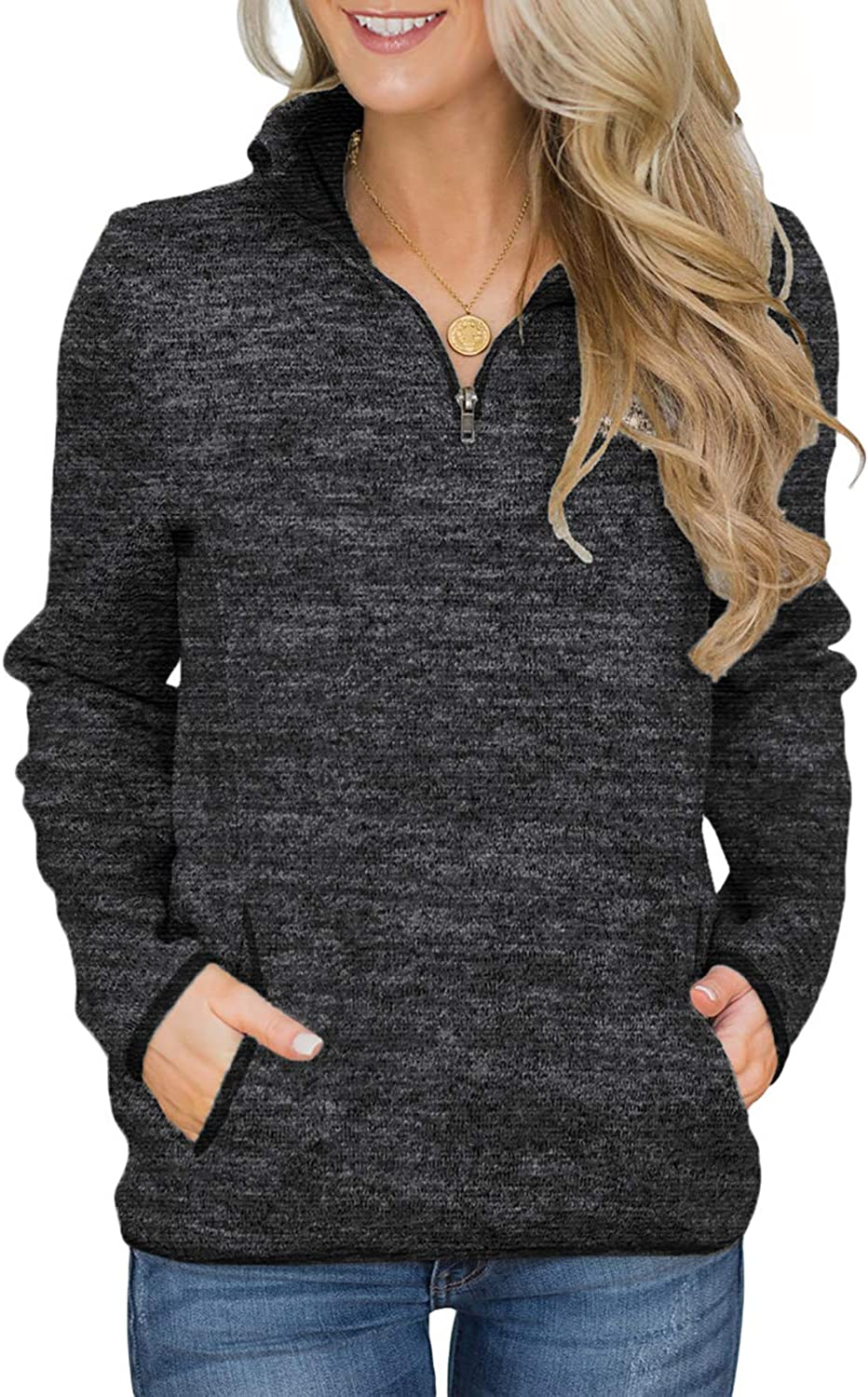 Aleumdr Women Casual Long Sleeve 1/4 Zipper Color Block Sweatshirts Stand Collar Pullover Tunic Tops with Pockets S-XXL at  Women's Clothing store