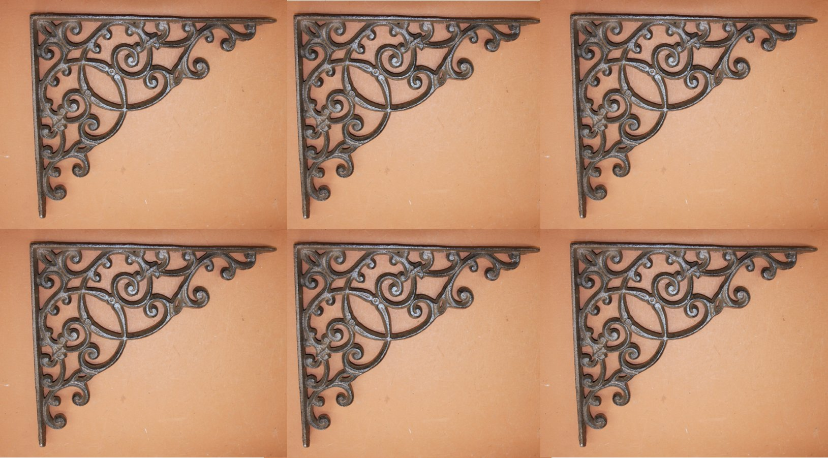 Extra Large Heavy Duty Decorative Elegant Shelf Brackets, Solid Cast Iron, 13'', Set of 6