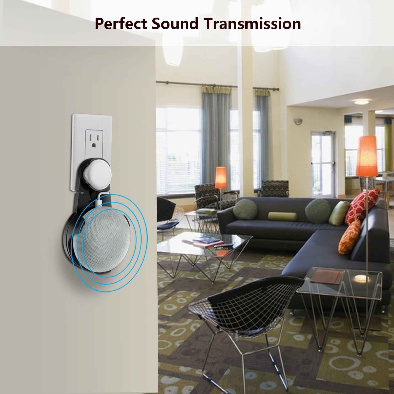 Wigoo Soporte de Montaje en Pared para Google Home Mini Asistentes de Voz Negro/… sin Cables o Tornillos distorsionados Space Saver Hanger Plug en el ba/ño y la Cocina del Dormitorio