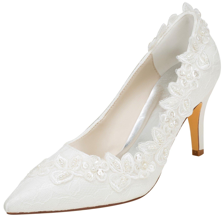 6128c8c3eca Emily Bridal Wedding Shoes Women s Silk Like Satin Stiletto Heel Pumps with  Pearl  Amazon.co.uk  Shoes   Bags