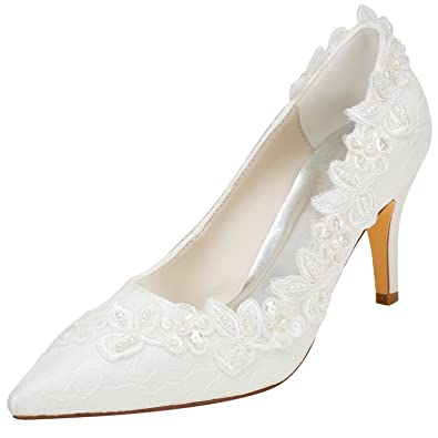 Emily Bridal Wedding Shoes Women s Silk Like Satin Stiletto Heel Pumps with  Pearl (EU35  ea0250cca9