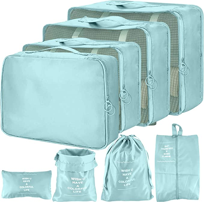 Packing Cubes for Suitcases Organiser Bags Compression Packing Cube for Backpack (Light Bule)