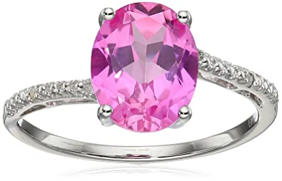 65e2a7850 Sterling Silver Lab-created Pink Sapphire Ring with Diamond Accent Ring,  Size 8