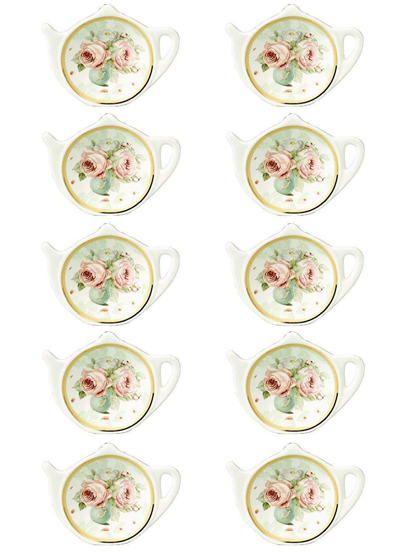 RockTrend Vintage Rose White Porcelain Ceramic Teapot-Shaped Tea Bag Holder Tea Bag Coasters, Spoon Rests; Classic Tea Saucer Seasoning Dish with Flower Trim Gold Rim (Flower A, 10 PCS) by RockTrend