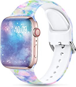 Sport Band Compatible with Apple Watch Bands 38mm 40mm for Women Men,Floral Silicone Printed Fadeless Pattern Replacement Strap Band for iWatch Series 3 6 5 4 2 1 SE,Cute Spring,38/40 mm S/M