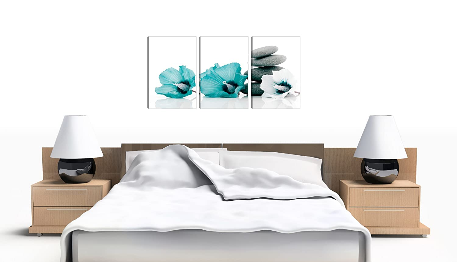 High Quality Set Of 3 Teal Floral Wall Pictures Split Canvas Art Bedroom Print 3072:  Amazon.co.uk: Kitchen U0026 Home