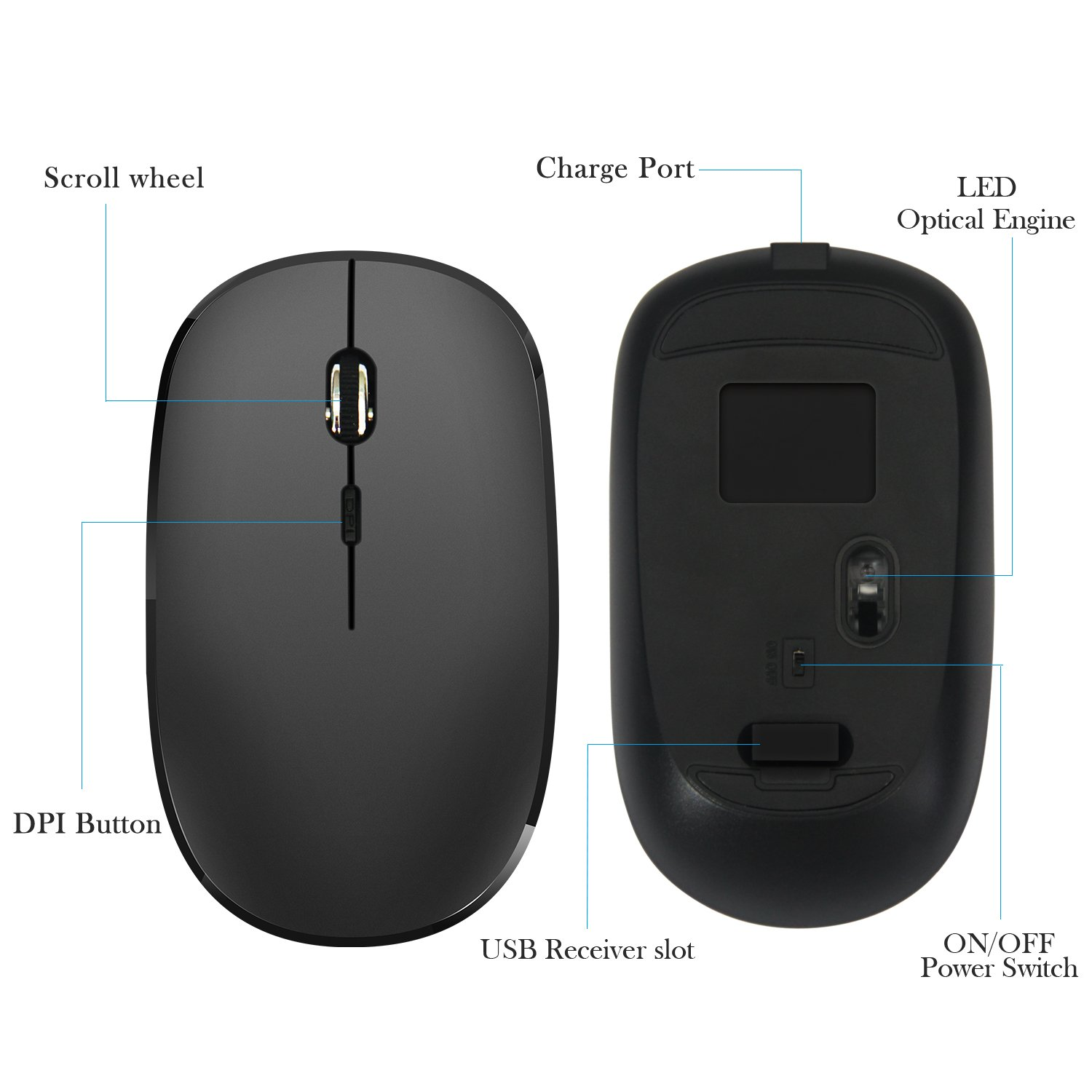 Quiet Wireless Bluetooth Mouse Rechargeable Desktop and Laptop ,Compatible with PC 800DPI,1200DPI,1600DPI Mac Tsmine Mini Gaming Mouse Computer Mouse with 3 Adjustable DPI Level