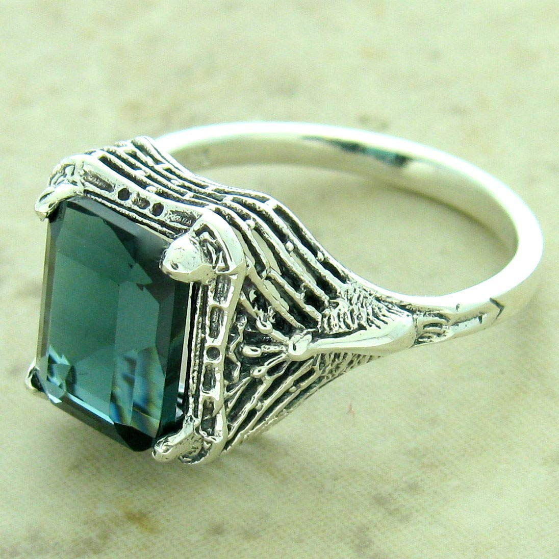 2 CT London Blue SIM Topaz 925 Sterling Silver Antique Finish Ring Size 9 KN-154