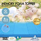 Starry Eucalypt Memory Foam Mattress Topper 7 Zone Cool Gel Mat Pad Bamboo Fabric with 8-Year Warranty (8cm Thickness - Queen)