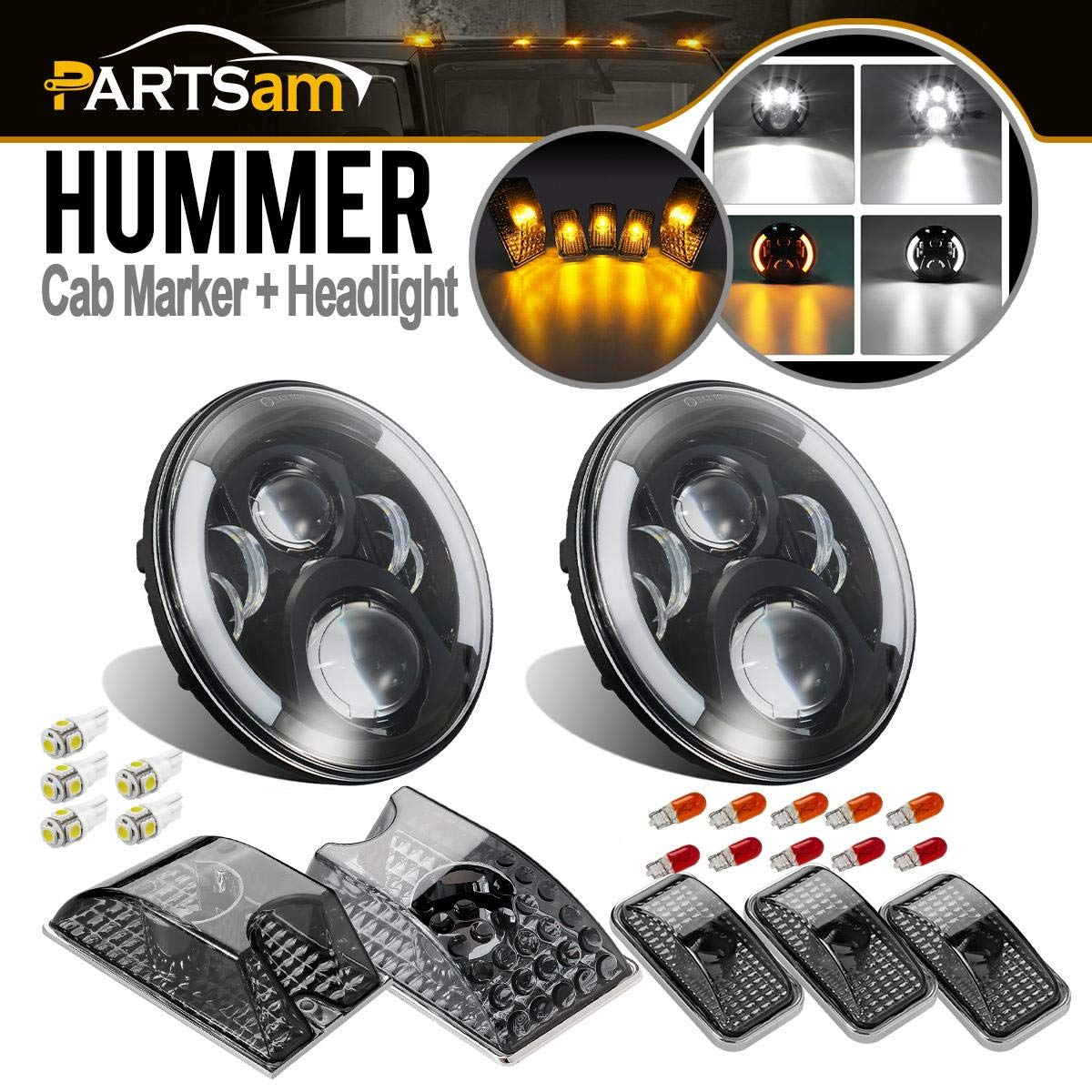 Partsam 2 x 7 Inch LED Headlights Hi/Lo Beam Daymaker w/Halo Angel Eye + 5PCS Cab Marker Roof Running Top Lights Smoke Lens Chrome + T10 5-5050-SMD White LED Replacement for 2003-2009 Hummer H2