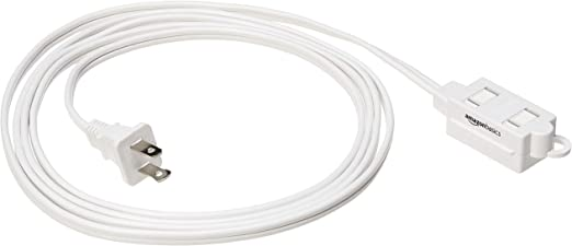 Amazon Basics Indoor 2 Prong Extension Power Cord Strip - Standard Plug, 8 Foot, Pack of 2, White