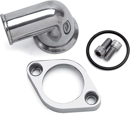 Edelbrock 4818 Polished Thermostat Housing w// 90° Swivel for Small Block Chevy