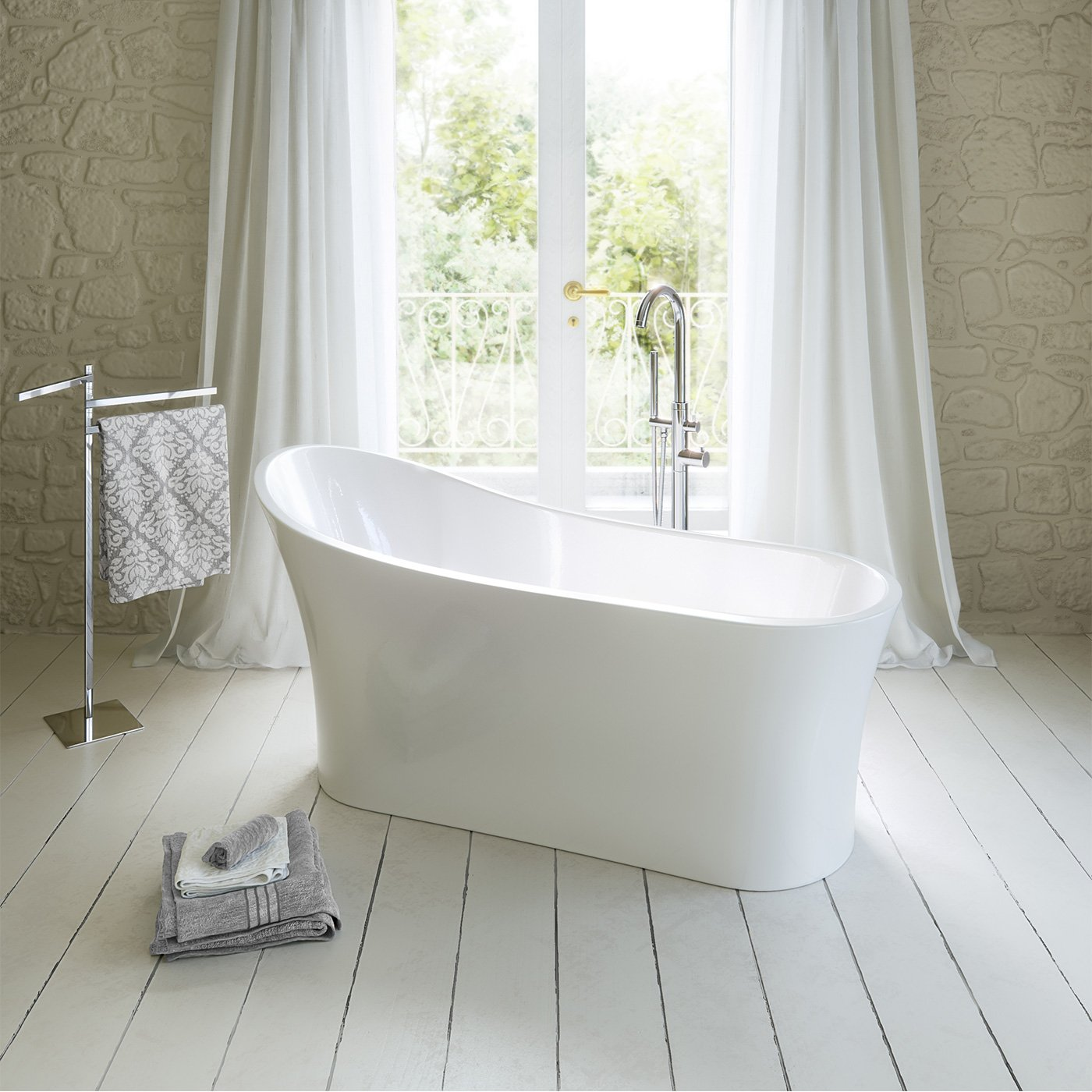 1650mm Modern Freestanding Bath Luxury Double Ended Large Bathroom ...
