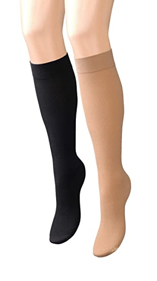 027a5e472 Nylon Knee High Trouser Socks - Tan and Black Stockings for Women at Amazon  Women s Clothing store