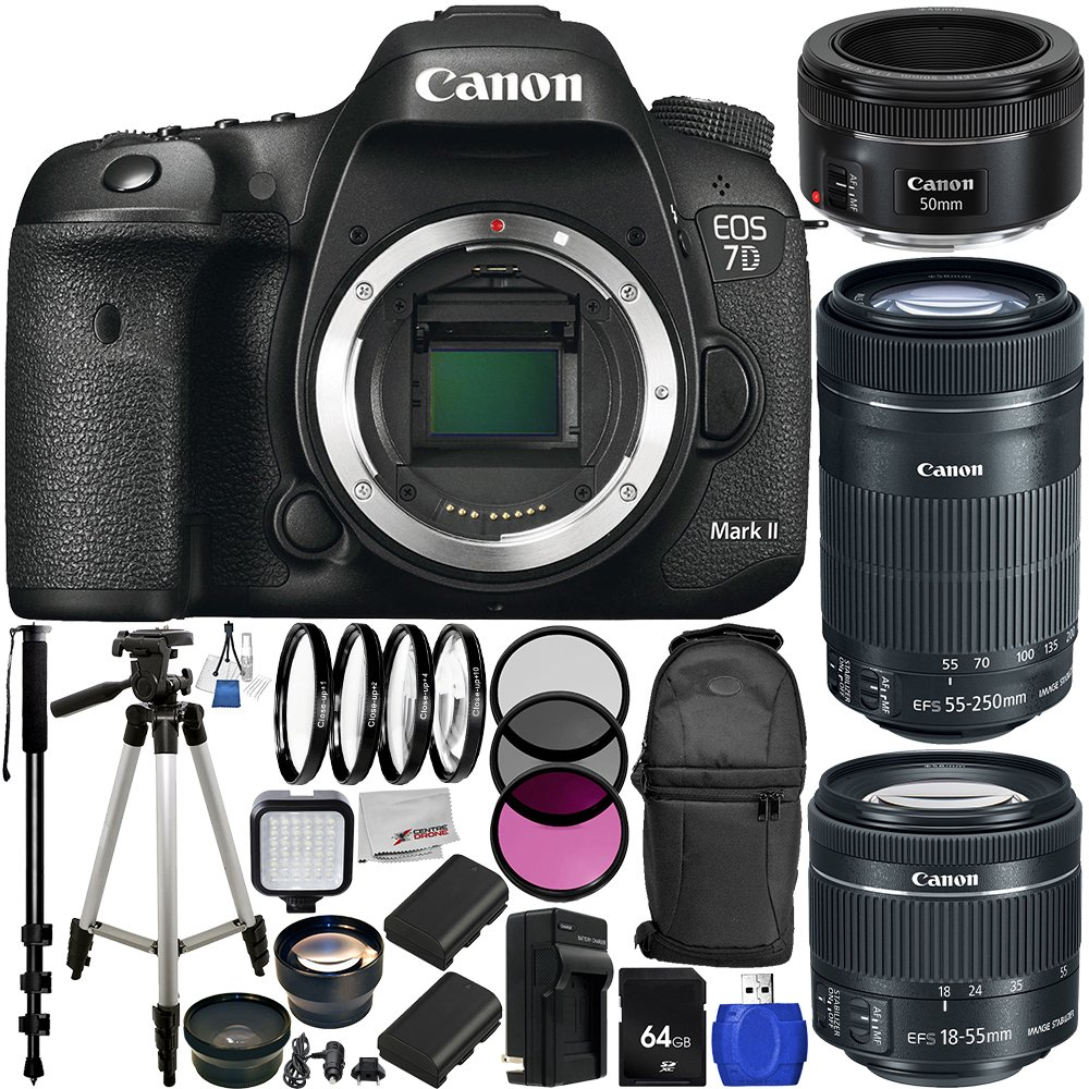 Canon EOS 7D Mark II DSLR Camera w/ EF-S 18-55mm f/3.5-5.6 IS STM Lens & EF-S 55-250mm f/4-5.6 IS STM Lens + EF 50mm f/1.8 STM Lens 64GB Bundle 29PC Accessory Kit. Includes 64 GB Memory Card + High Speed Memory Card Reader + MORE - International Version (N