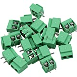 TOOGOO(R) 20Pcs zwei Pole 5mm Pitch PCB Mount Screw Terminal Block 8A 250V