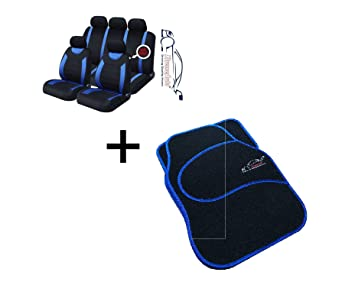 Matching FLOOR Mat Set Citroen 9 PCE Sports Carnaby Blue// Black CAR Seat Covers