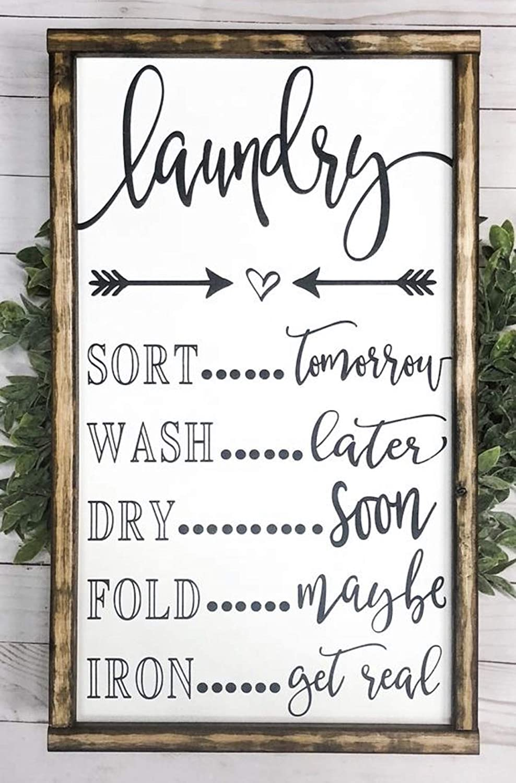 Amazon Com Wood Signs Farmhouse Decor Home Decor Wall Art Laundry Room Laundry Sign Handmade