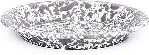 Enamelware Pie Plate, 9 inch, Grey/White Splatter