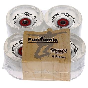 FunTomia - 4 Ruedas LED para Longboard, 70 x 51 mm, 86 A,