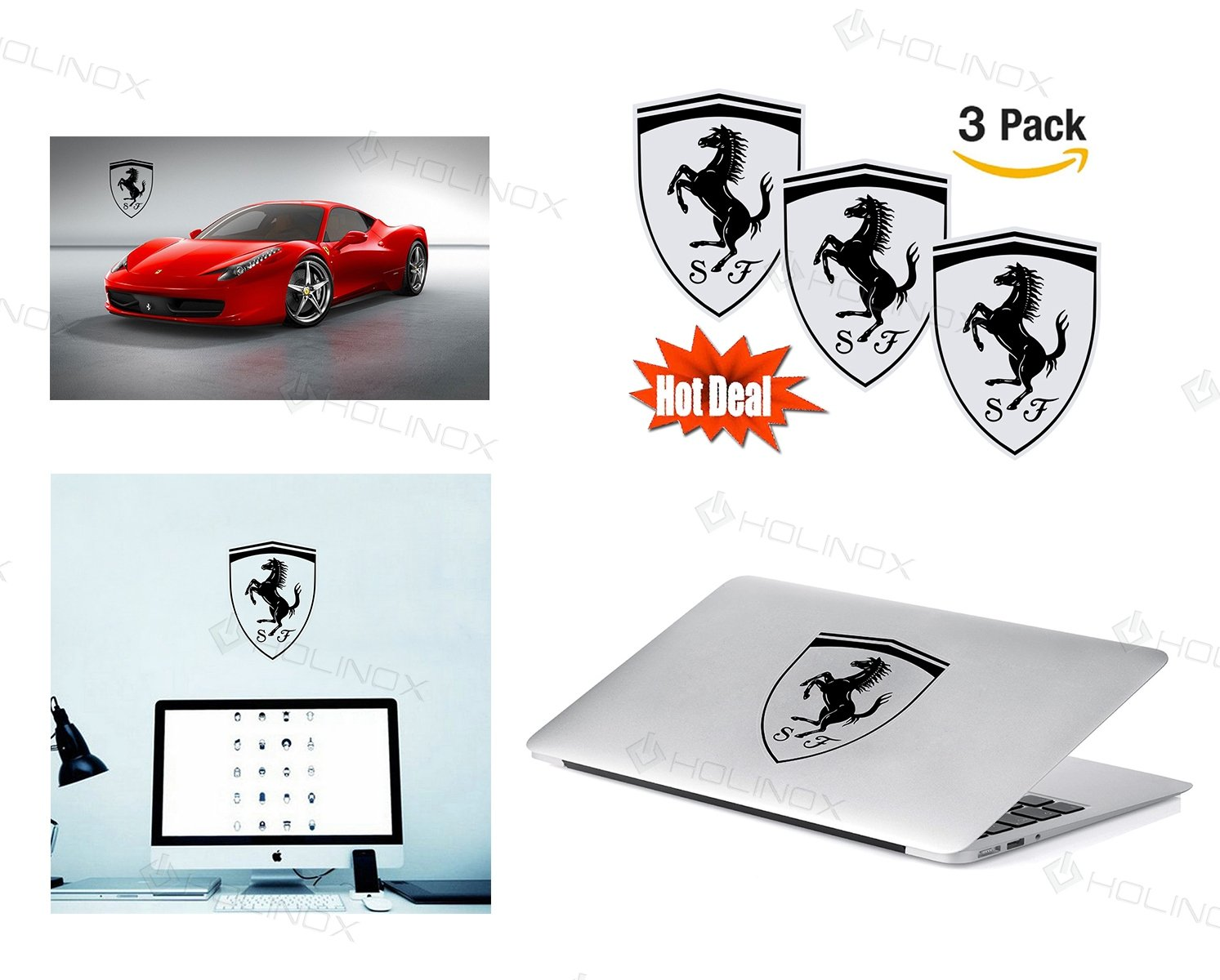 Amazon com ferrari logo stickers decal set of 3 decals high resolution superior finish and transparent background ideal for car motorcycle laptop