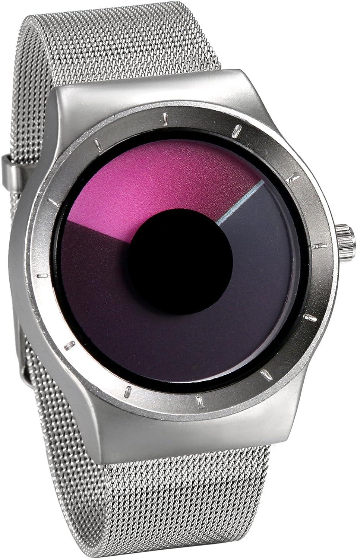 JewelryWe Reloj de Cuarzo para Hombre Mujer, Cambios de Color Indicador Reloj Creativo Movimiento de Las Esferas, Correa de Acero Inoxidable