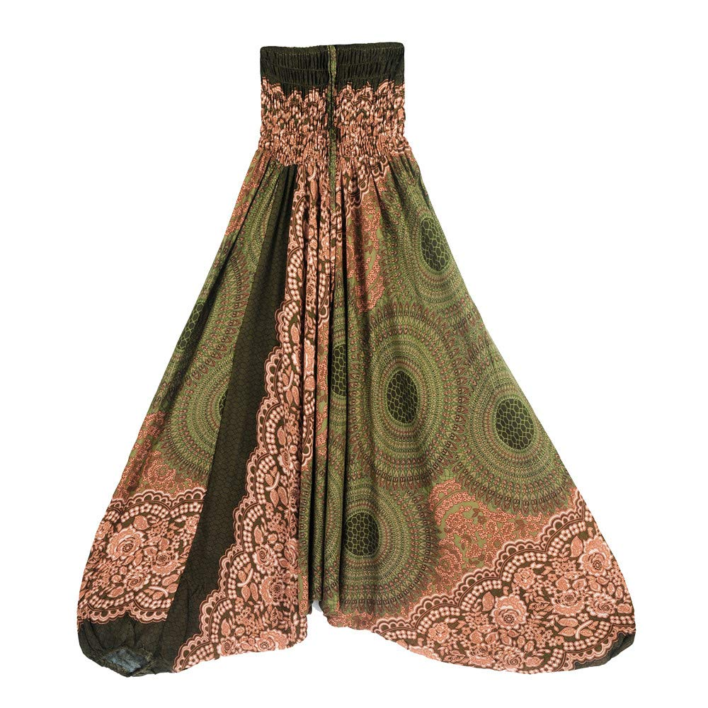 Harem Pants Women's Hippie Bohemian Yoga Pants One Size Aladdin Harem Hippie Pants Jumpsuit Smocked Waist 2 in 1 (Free, Army Green)