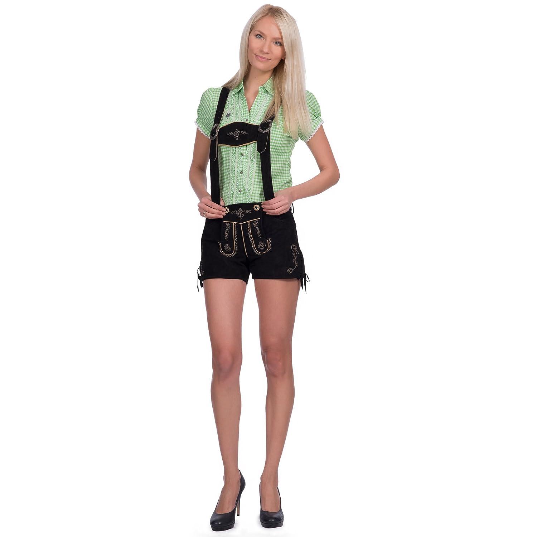 Damen Trachten Lederhose, Ledershorts in schwarz aus Ziegenveloursleder verfügbar in Größe 34 bis 46