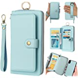 AIFENGCASE Phone Case Compatible with iPhone XR,Wallet Case for Women Men Girl,Wristlets Clutch Zipper Leather Pouch Wallet F