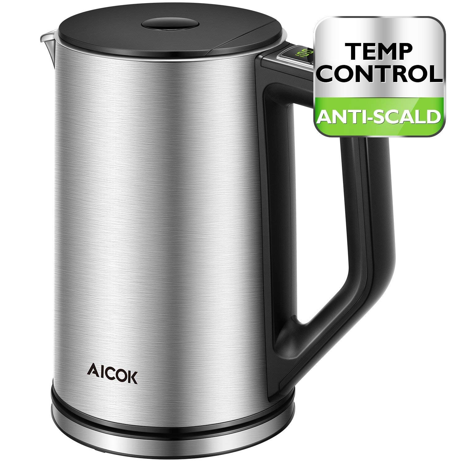 Aicok Electric Kettle Temperature Control, Double Wall Cool Touch Stainless Steel Water Kettle with LED Display from 90 ℉-212℉| BPA-Free | Strix Control | Keep Warm | Quick Boil | (1.5 L, 1500 W)