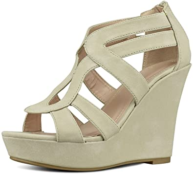 a89b0810d6 Women's Strappy Platform Wedge Sandals High Heels Daily Dress Shoes in  Summer Comfort Open Toe Gladiator