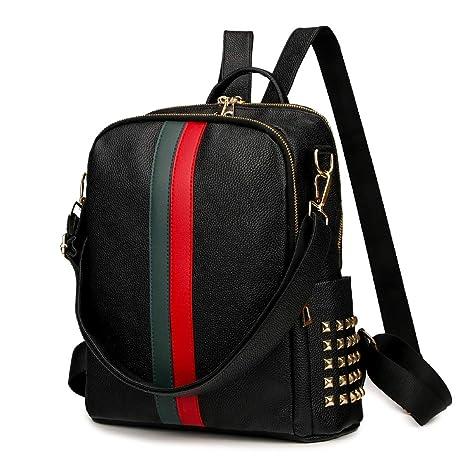 1f80438accdc Mynos Backpack Bag Women Mini Rucksack Travel Daypack Backpack Leather Bag  Ladies Purse And Handbags (Black Medium)
