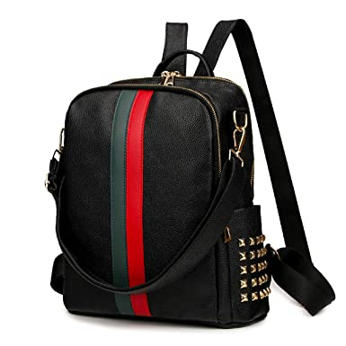 75d61063f730 Amazon.com  Mynos Backpack Bag Women Mini Rucksack Travel Bookbag For Girls  Backpack Leather Bag Ladies Purse And Handbags (Upgrade Medium Size-Black)   ...