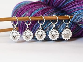 Set of Five Sheep Pink Beads Knitting Stitch Crochet Markers