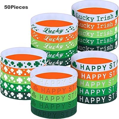 Leinuosen 50 Piezas de Pulsera de Trébol de Día de San Patricio Brazalete de Silicona Banda de Goma de Trébol Irlandesa para Accesorios de Disfraz, 5 Estilos: Juguetes y juegos