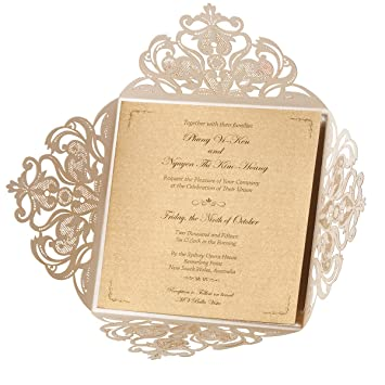 Amazon.com: WISHMADE Square Ivory Laser Cut Wedding Invitations ...