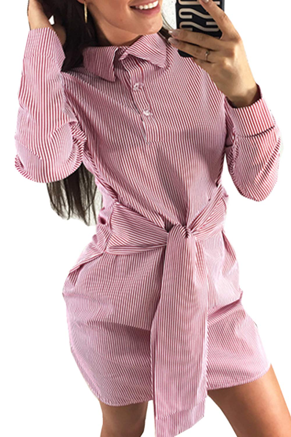 Bisting Womens Striped Collar Long Sleeve Tie Front Mini Dress Shirt Dresses Red S