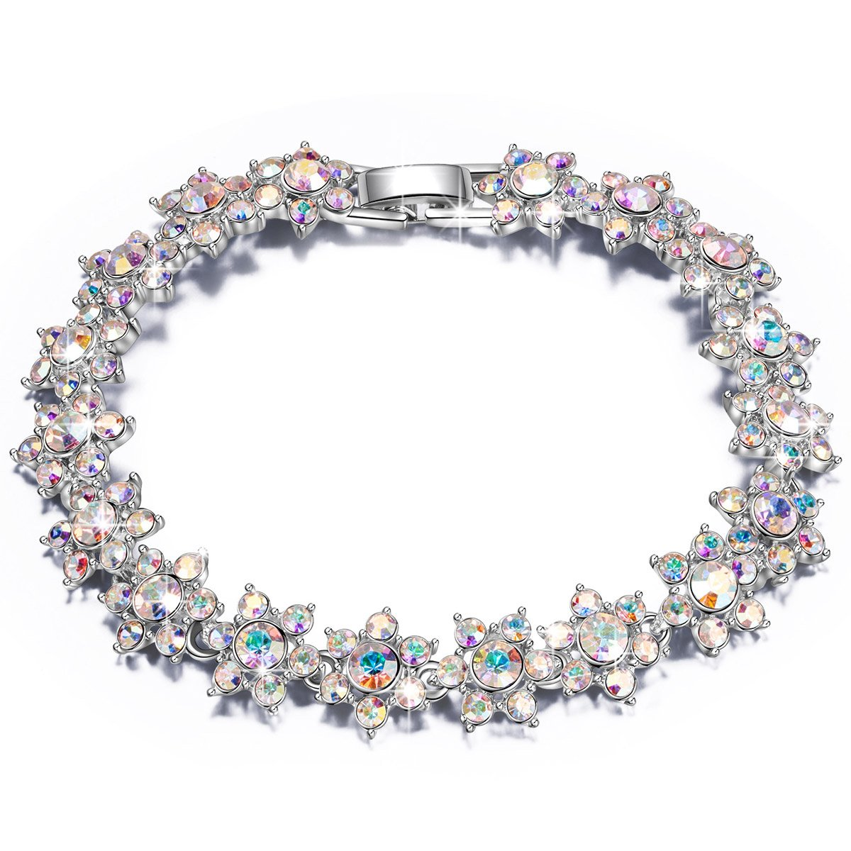 QIANSE ''Princess Charlotte Austrian Crystals Tennis Bracelet Fashion Jewelry for Women Bracelet for Women Birthday Gifts for Girls Girlfriend Daughter