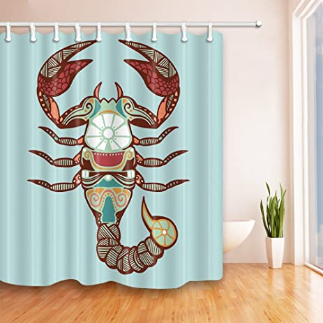 Showbao Lobster Pattern Shower Curtain Polyester Fabric With Hooks 70x70 InchesBlue