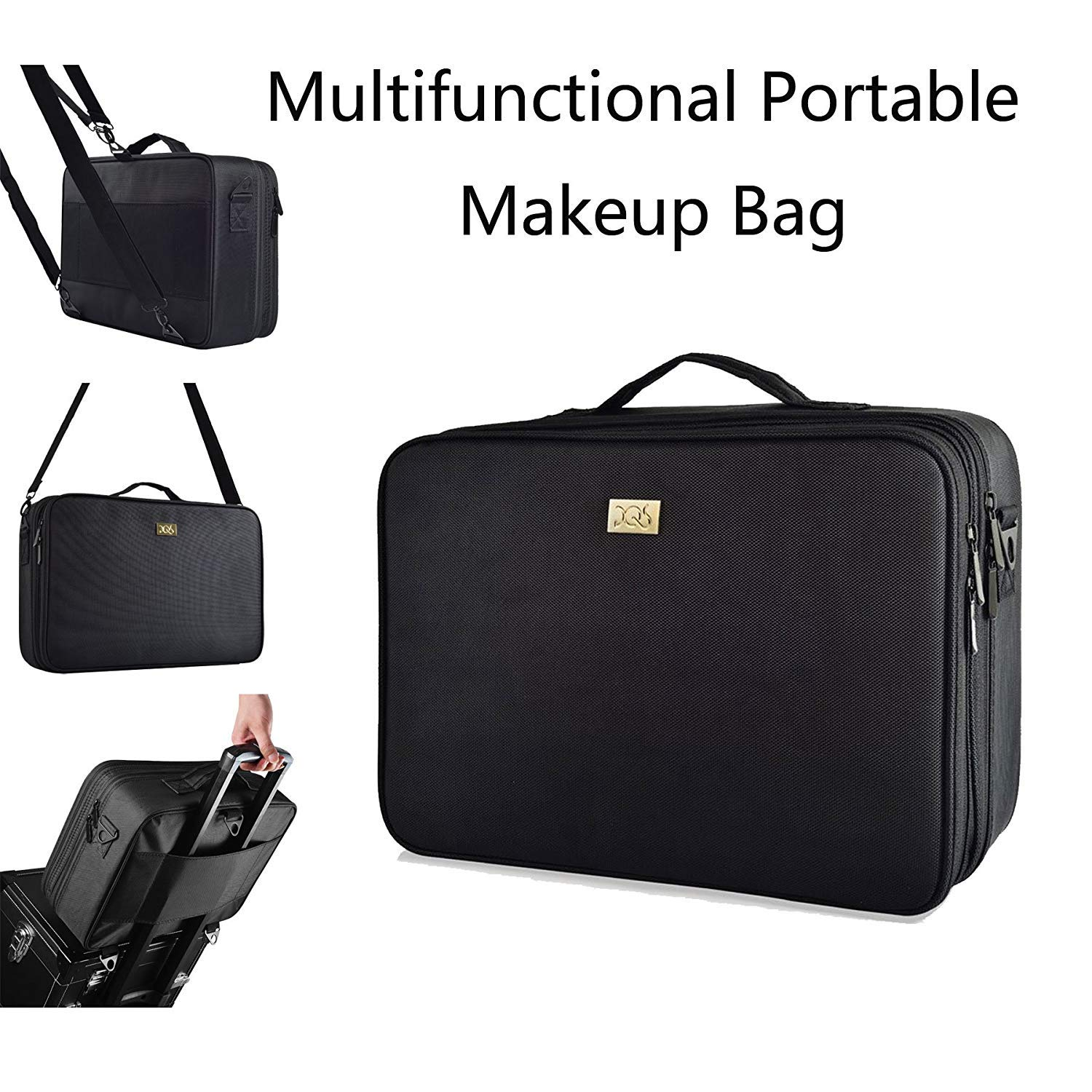 DQS Makeup Train Case, 3 Layer 15.2'' Length Portable Travel Makeup Bag Cosmetic Organizer with 2 Shoulder Strapes, Black (15.16''×10.63''×5.31'')