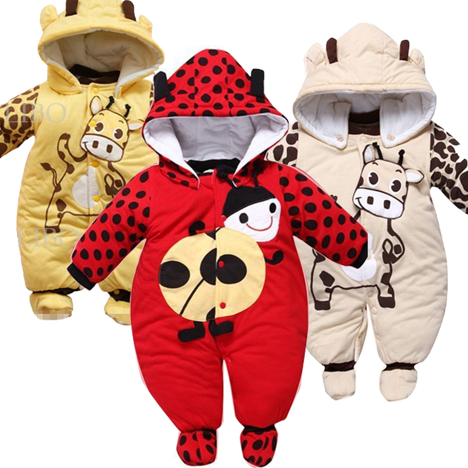 d007beb9e Newborn Baby Boy Girl Winter Jumpsuit Hooded Rompers Quilted Suit ...