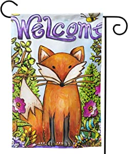 YISHOW Welcome Fox Garden Flag Double Sided Vertical House Flags Welcome Fox Yard Signs Outdoor Decor 12.5 X 18 Inch