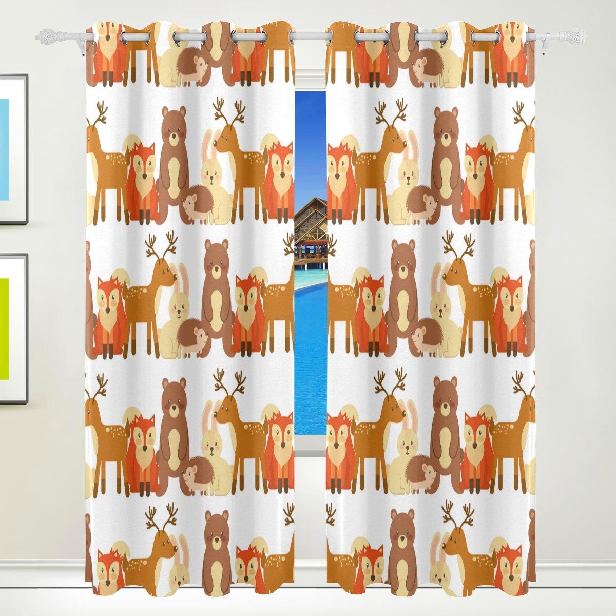 Vantaso Window Curtains 84 Inch Long Forest Animal Deer Fox Bear for Kids Girls Boys Bedroom Living Room Polyester 2 Pannels