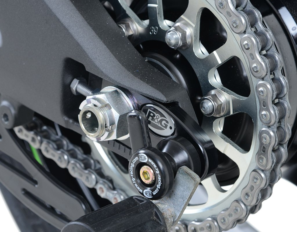 R/&G Offset Cotton Reel Rear Axle Sliders for Kawasaki ZX10R Ninja 16