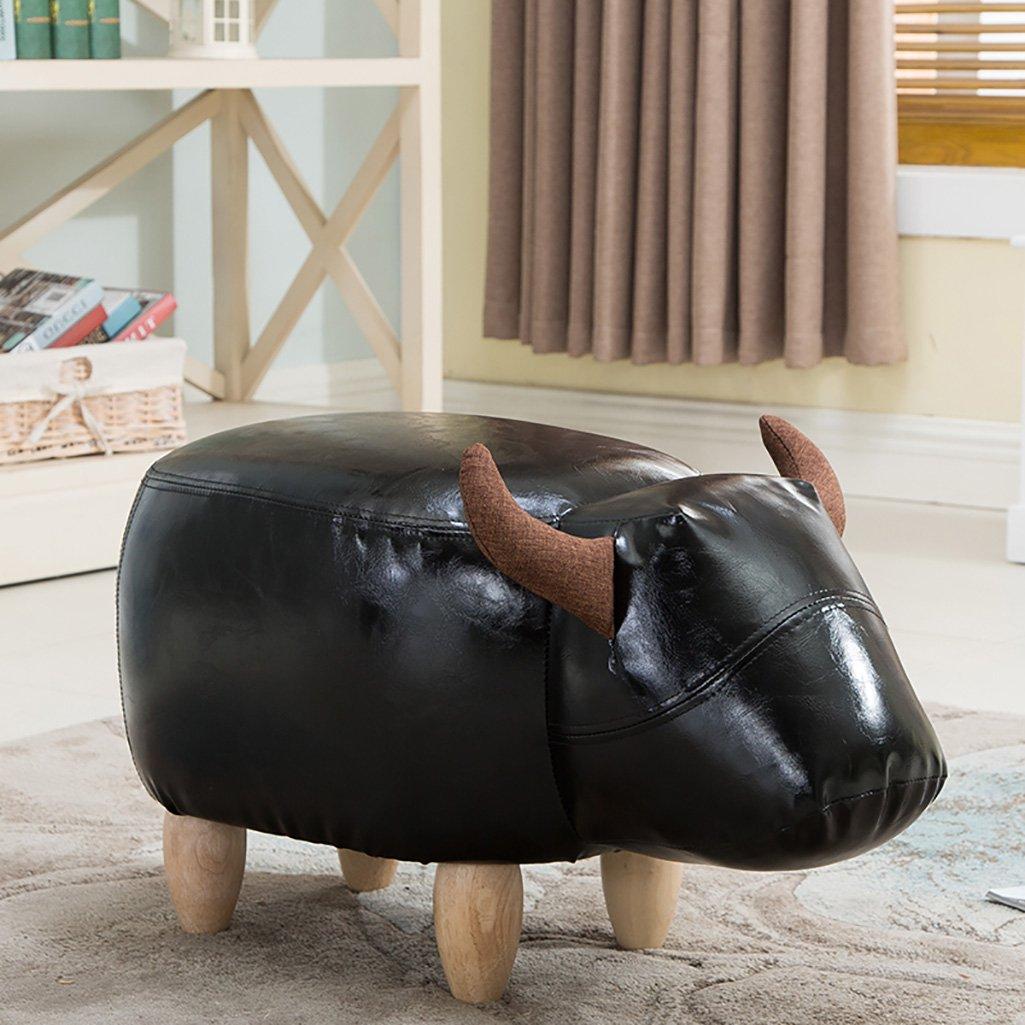 Gambe in Legno 4 Gambe ZfgG Divanetto Imbottito poggiapiedi Sgabello Ottoman Cambia Scarpe Sgabello Moda Creativo Pouf Forma Mucca Color : A, Size : Black Legs 34 * 66 * 36cm