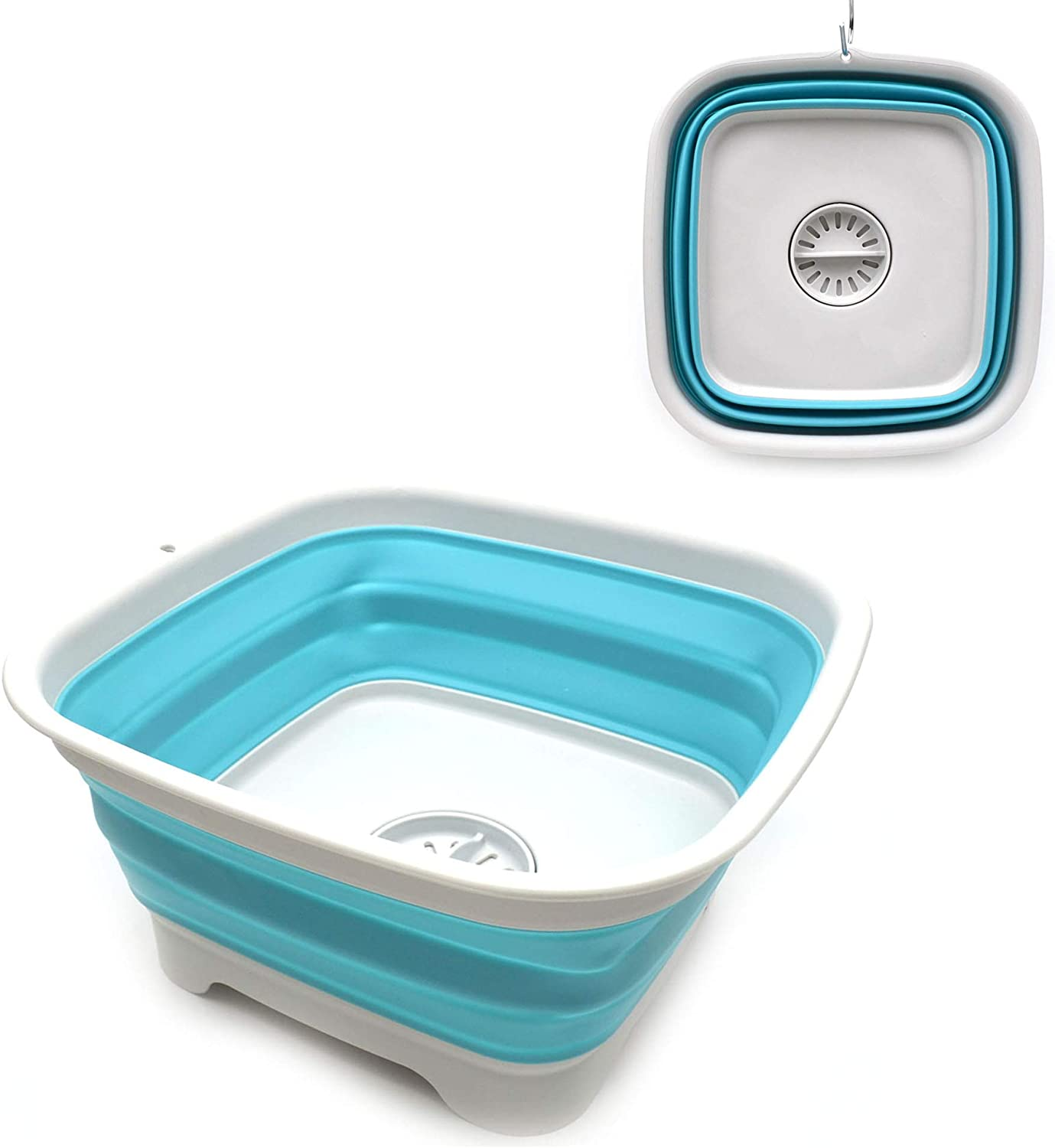 SAMMART 9.3L (2.46Gallon) Collapsible Dishpan with Draining Plug - Foldable Washing Basin - Portable Dish Washing Tub - Space Saving Kitchen Storage Tray (1, Grey/Bright Blue)