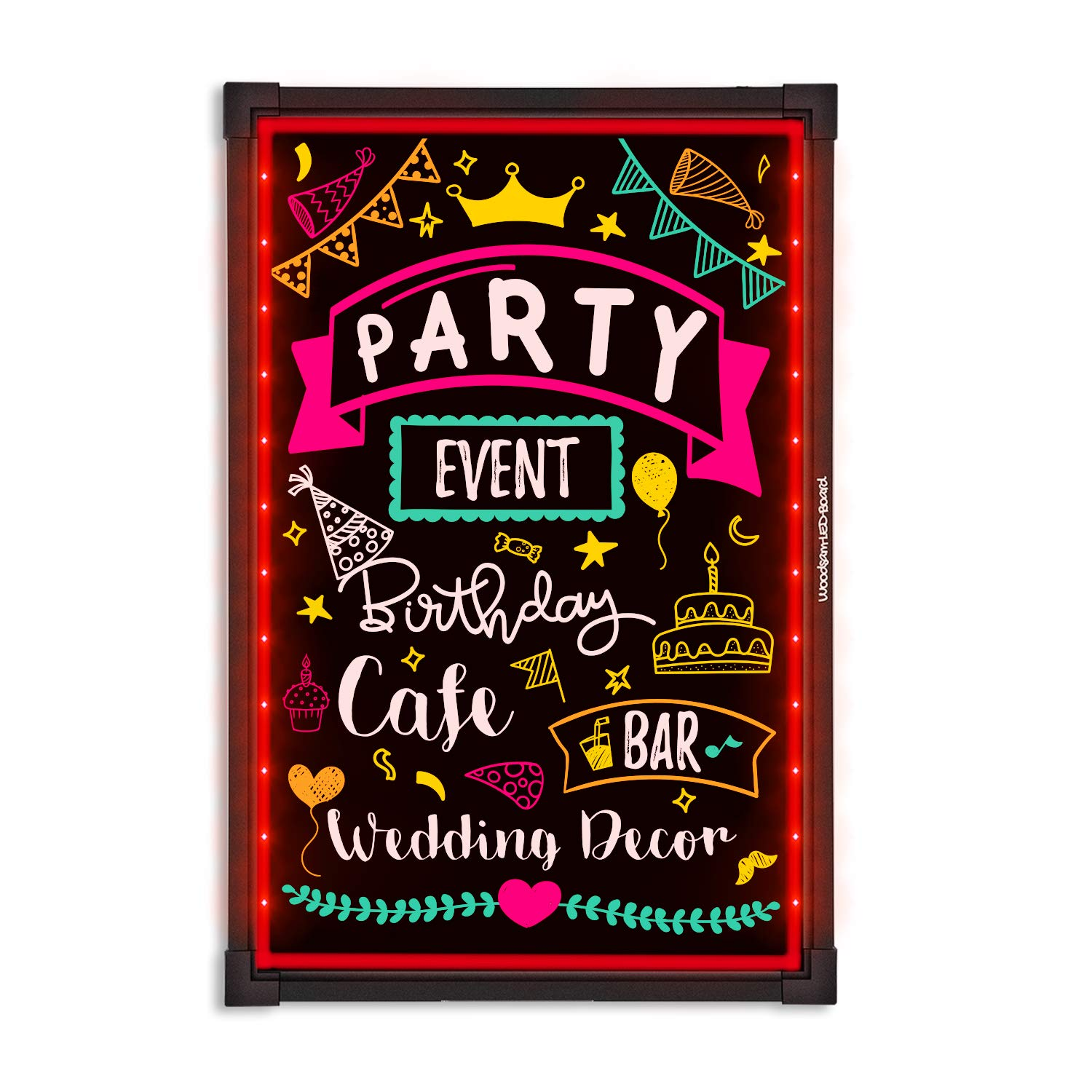 Woodsam LED Message Writing Board - 32''x24'' Flashing Illuminated Erasable Neon Sign With 8 Fluorescent Chalk Markers - Perfect For Shop/Cafe/Bar/Menu/Wedding/Decoration/Promotion/School by Woodsam