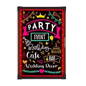 """Woodsam LED Message Writing Board - 32""""x24"""" Flashing Illuminated Erasable Neon Sign With 8 Fluorescent Markers - Perfect For Holiday/Event/Menu Wedding Decoration Promotion Gift"""